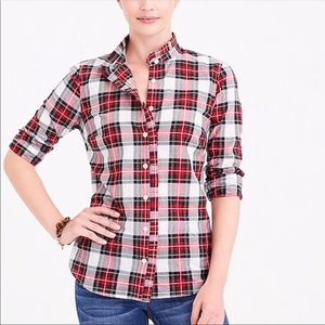 J.Crew Factory Tartan Plaid Ruffle Trim Blouse